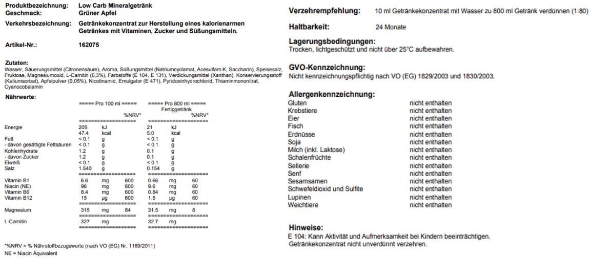 Low Carb Mineralgetränk Grüner Apfel
