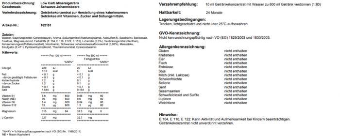 Low Carb Mineralgetränk Schwarze Johannisbeere
