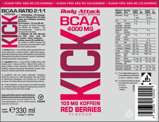 bcaa kick red berry