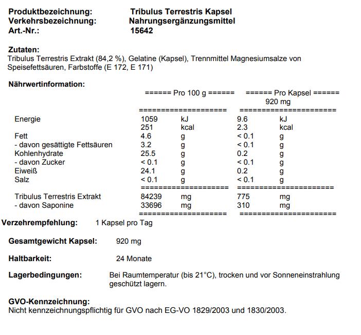 Tribulus Terrestris 120c seite 1