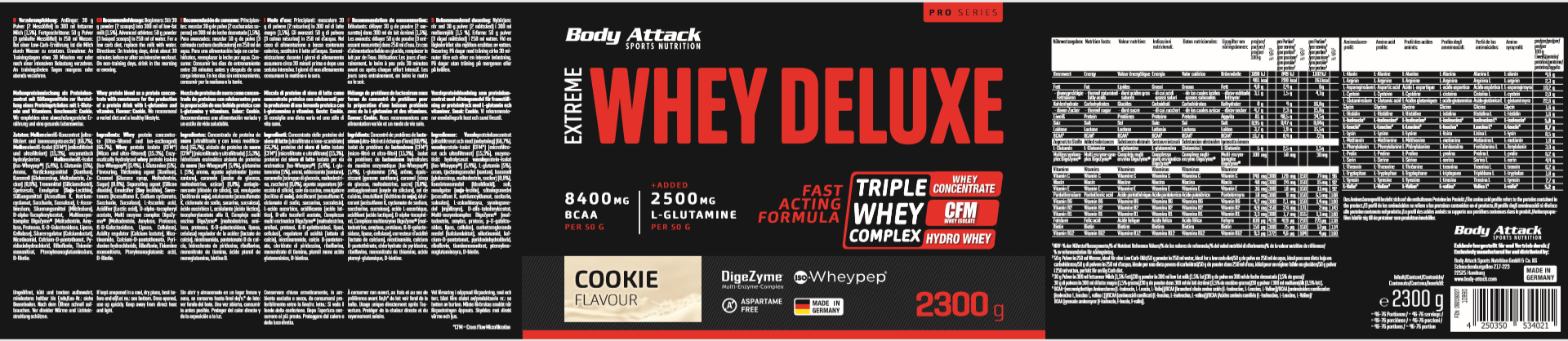 Body Attack Extreme Whey Deluxe – 2,3 kg Cookies & Cream