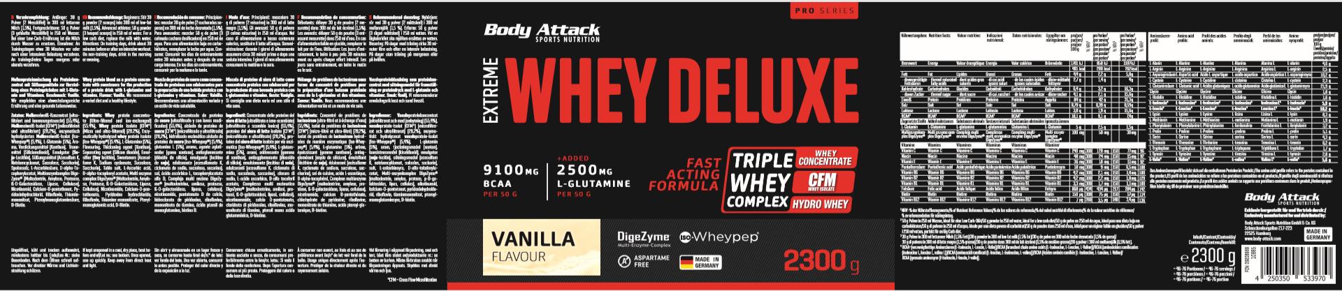 Body Attack Extreme Whey Deluxe – 2,3 kg Vanilla Cream