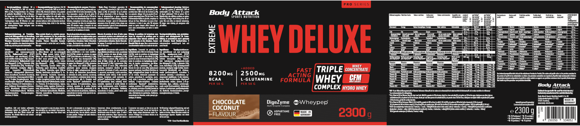 Body Attack Extreme Whey Deluxe - 2,3 kg Chocolate Coconut