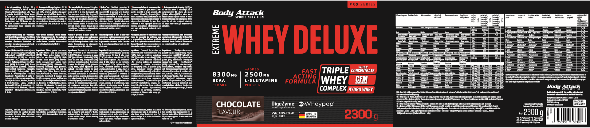 Body Attack Extreme Whey Deluxe - 2,3 kg Chocolate Cream