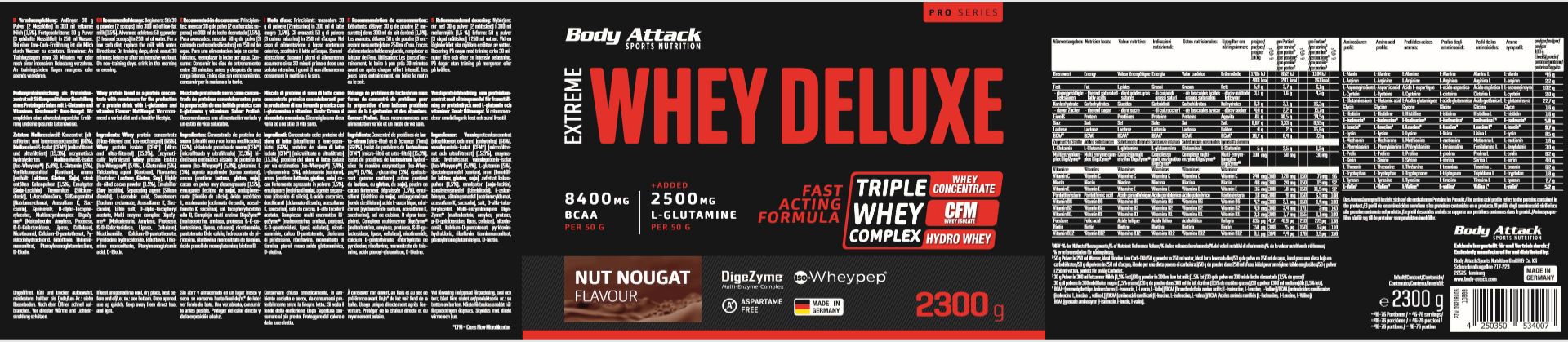 Body Attack Extreme Whey Deluxe - 2,3 kg Nut Nugat Cream