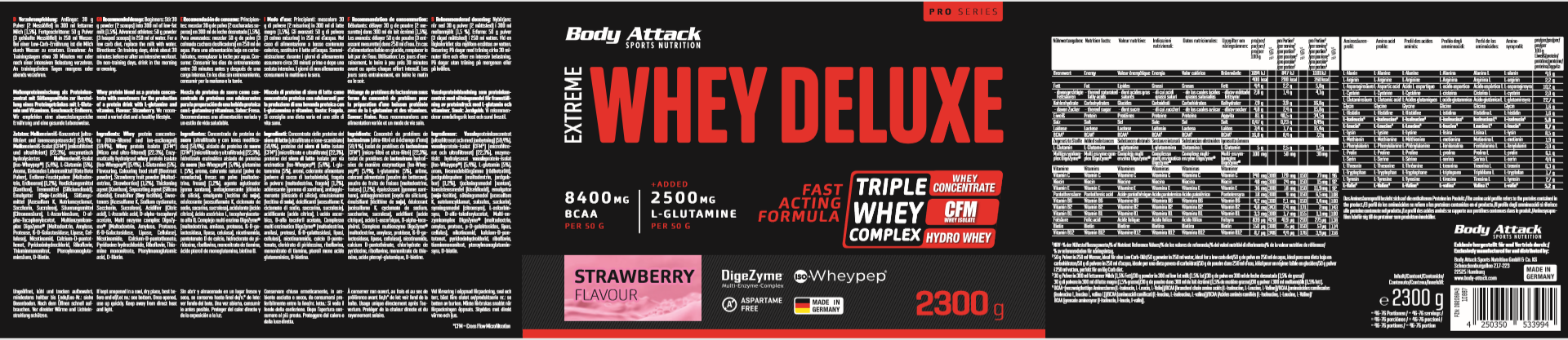 Body Attack Extreme Whey Deluxe - 2,3 kg Strawberry Cream