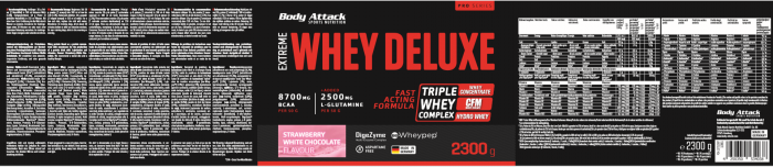 Body Attack Extreme Whey Deluxe - 2,3 kg Strawberry White Chocolate