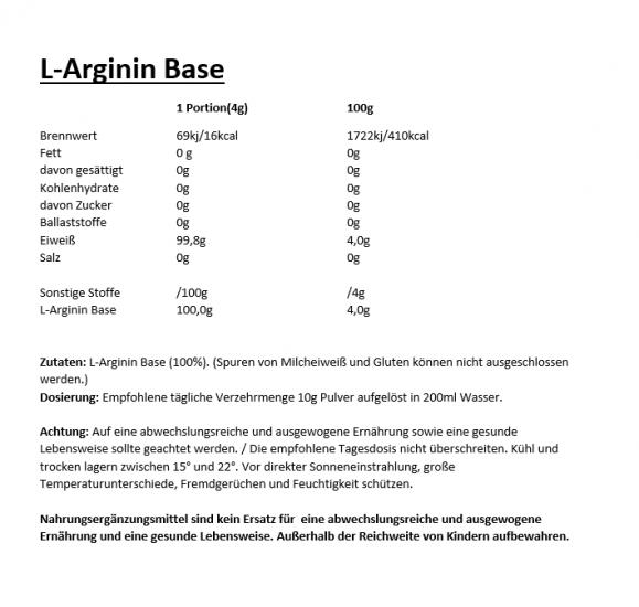 L-Arginin Base Inhaltstoffe